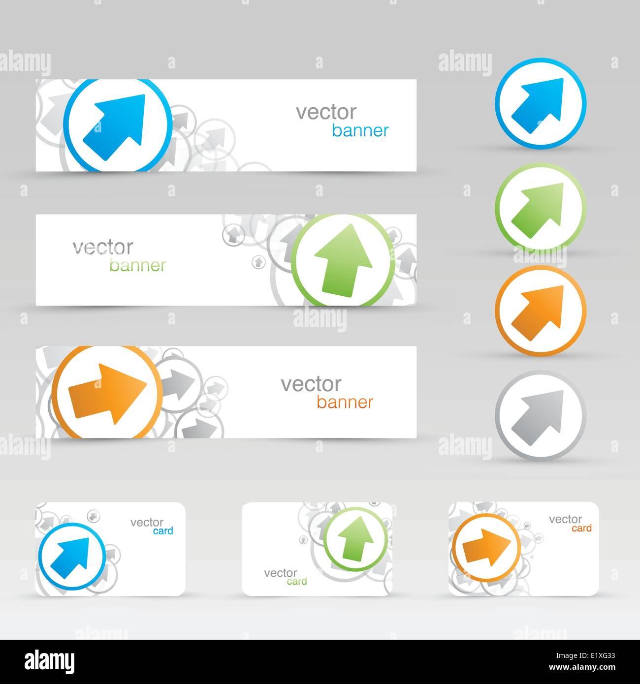 Vektor Pfeil Banner Und Visitenkarten Vorlagen Eps10 Vektor