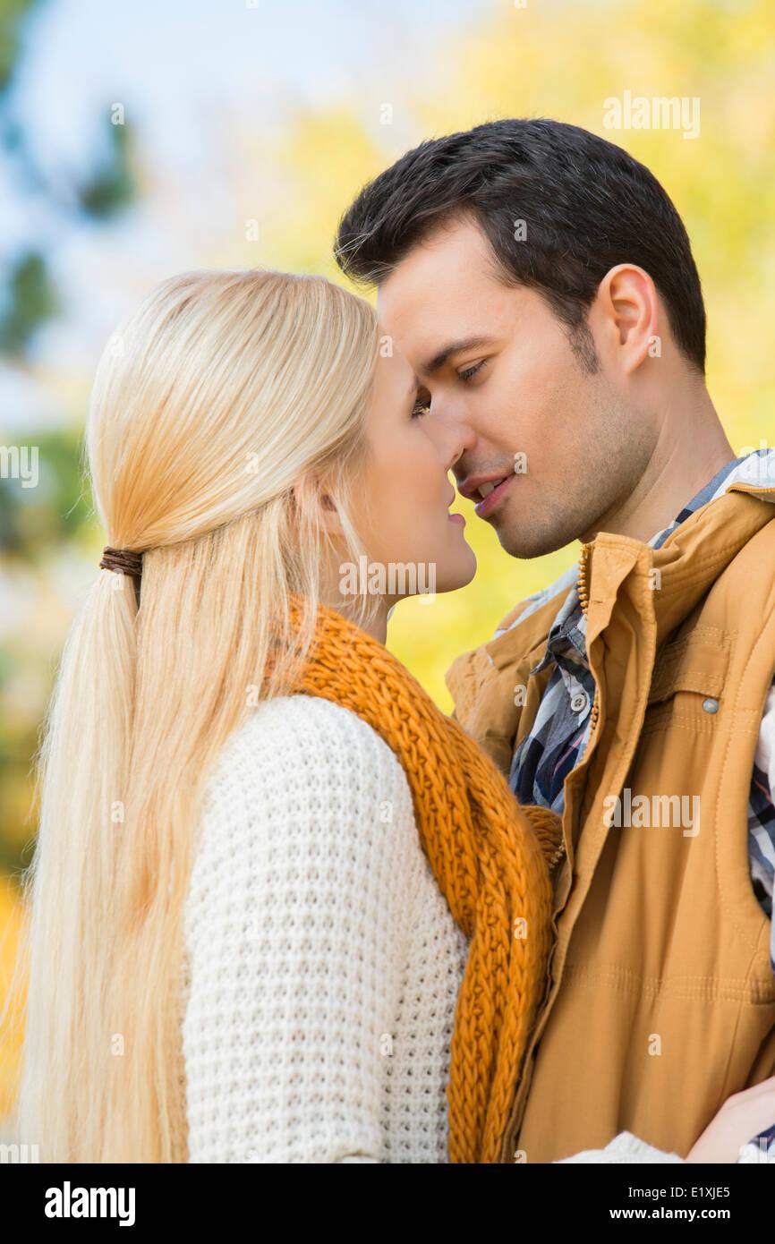 Leidenschaftliche Paare küssen im park Stockbild