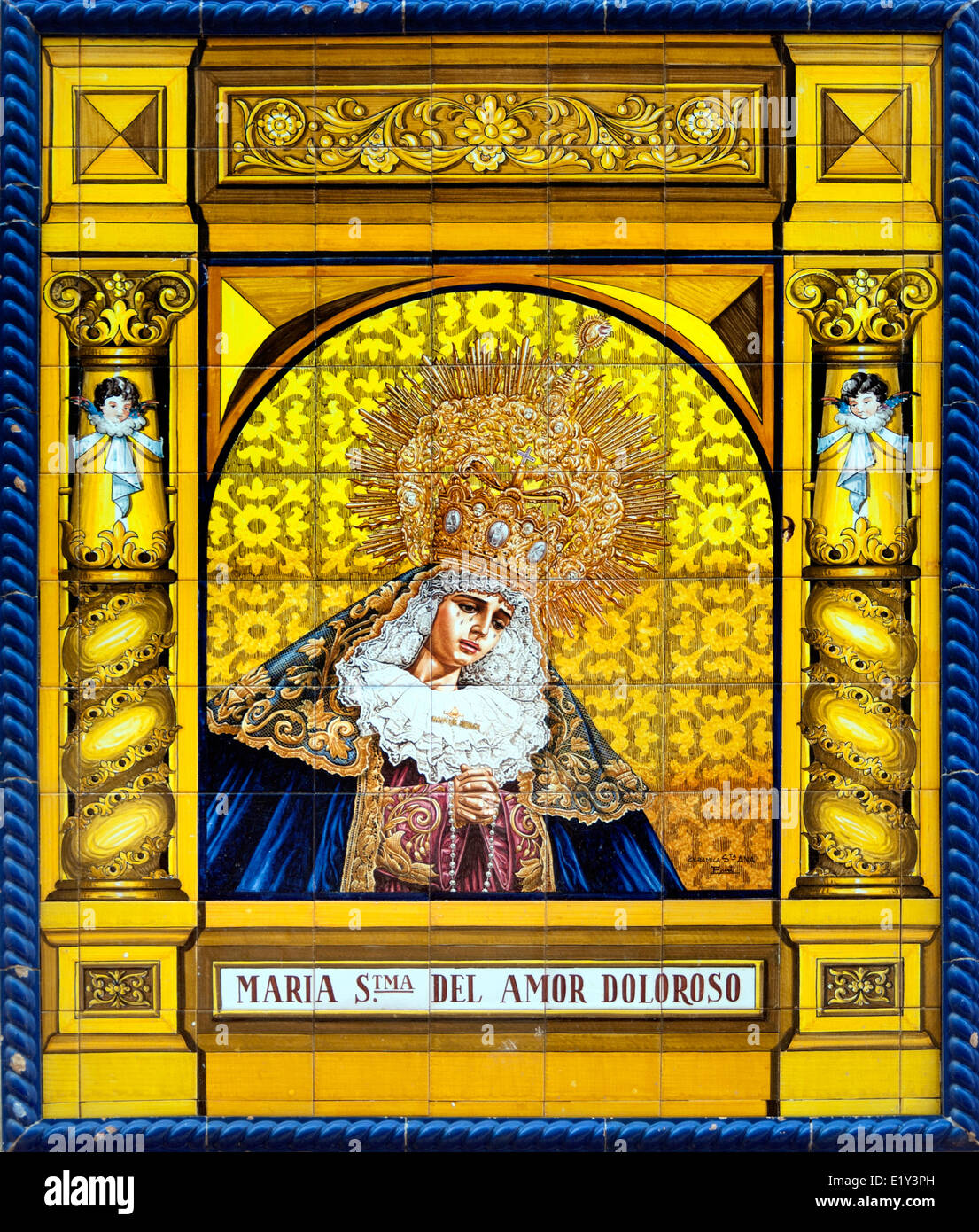 María Stma Del Amor Doloroso - schmerzhafte Liebe Mary Malaga Spanien katholische Kirche Christian Ceramic gesegnet Stockfoto