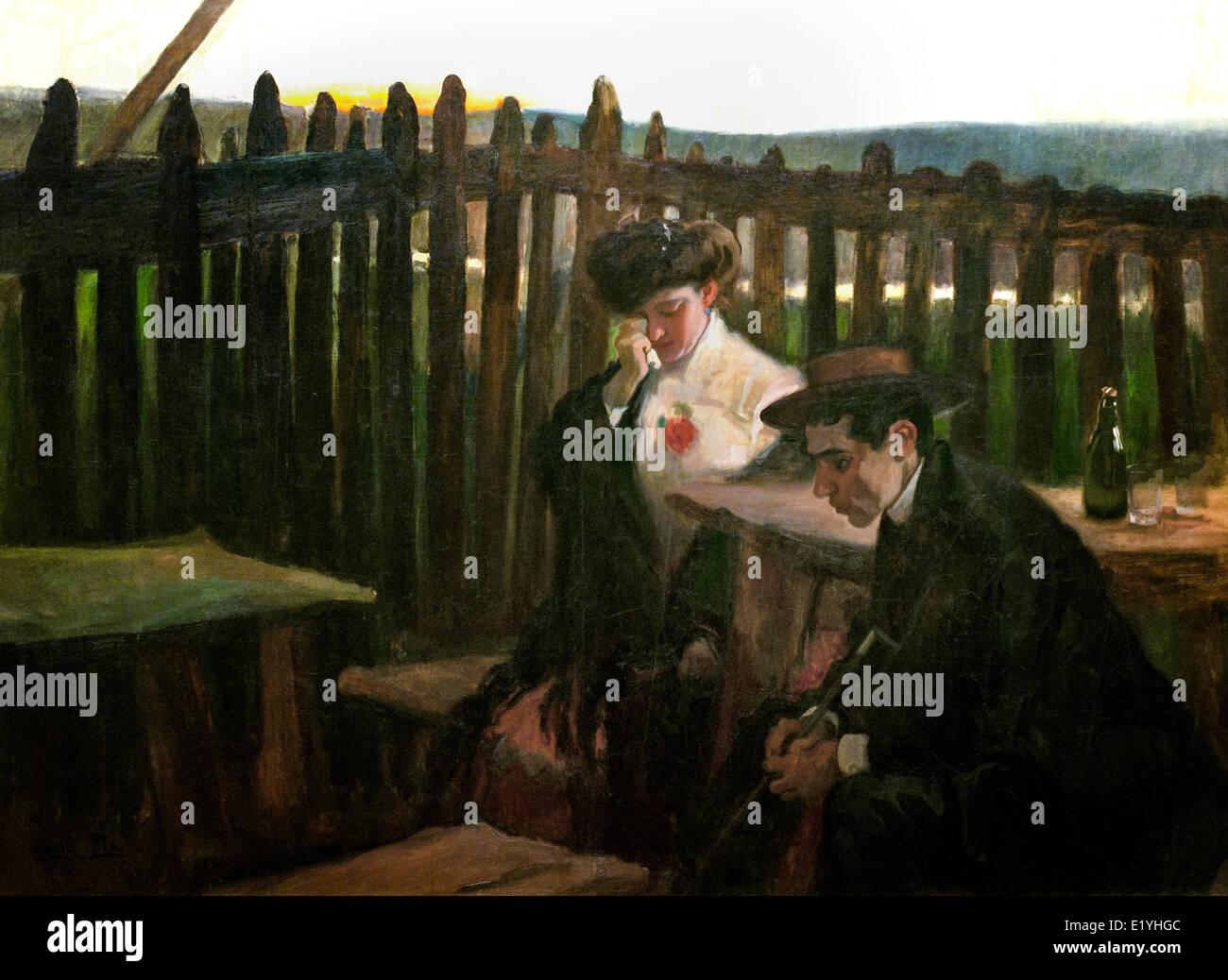 Trauriger Abend - zwei Dämmerungen von Cecilio Pla Gallardo Valencia 1860-Madrid 1934 Spanien Spanisch Stockbild