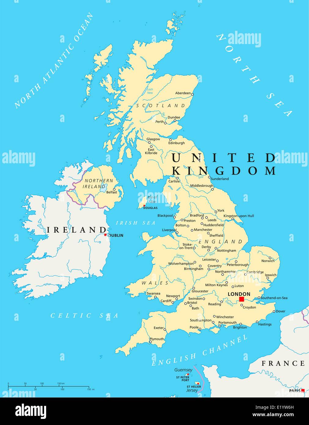 vereinigten k nigreichs politische karte mit hauptstadt london landesgrenzen die wichtigsten. Black Bedroom Furniture Sets. Home Design Ideas