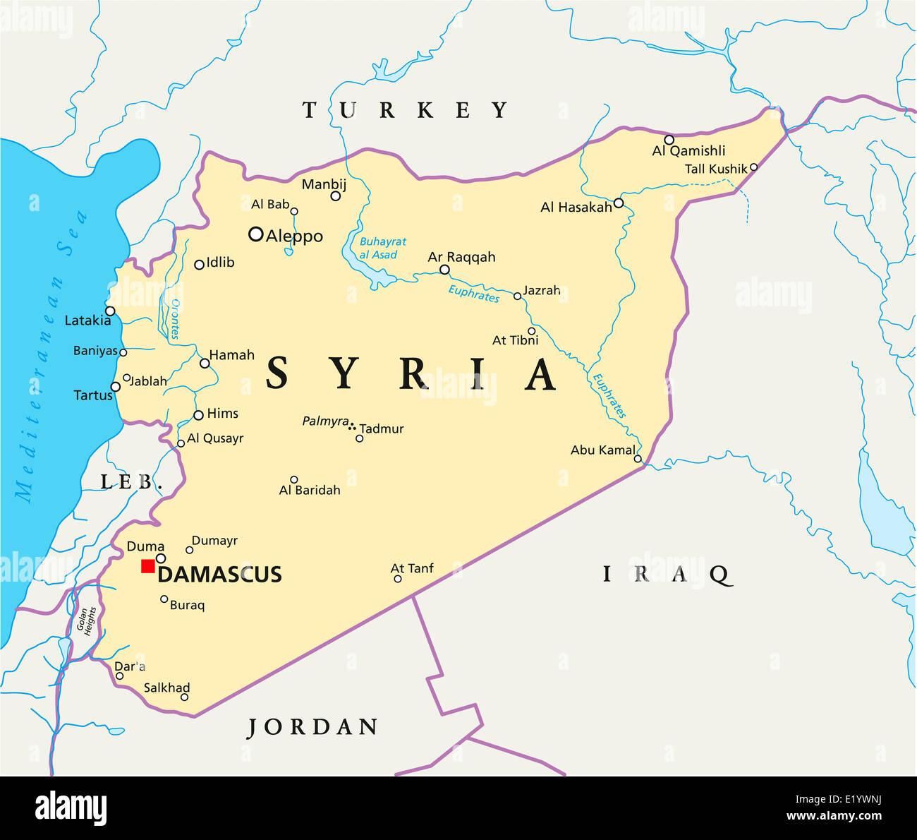 Syrien Karte Mit Städten.Politische Karte Von Syrien Politische Karte Von Syrien Mit
