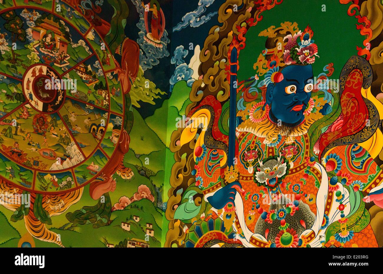 Kathmandu Nepal bunten Illustrationen gemalt an den Wänden des Klosters Drikung Kagyu Rinchenling Stockbild