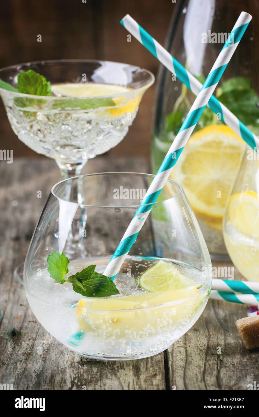 frische hausgemachte limonade mit zitrone limette und minze in gl sern mit vintage cocktail. Black Bedroom Furniture Sets. Home Design Ideas