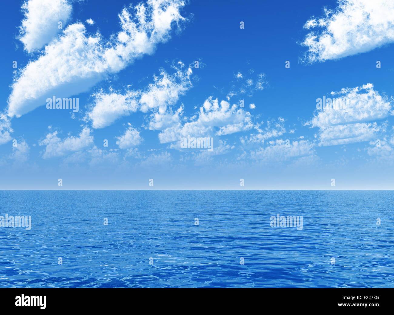 blauen Wolkenhimmel verlassen für Horizont Stockbild