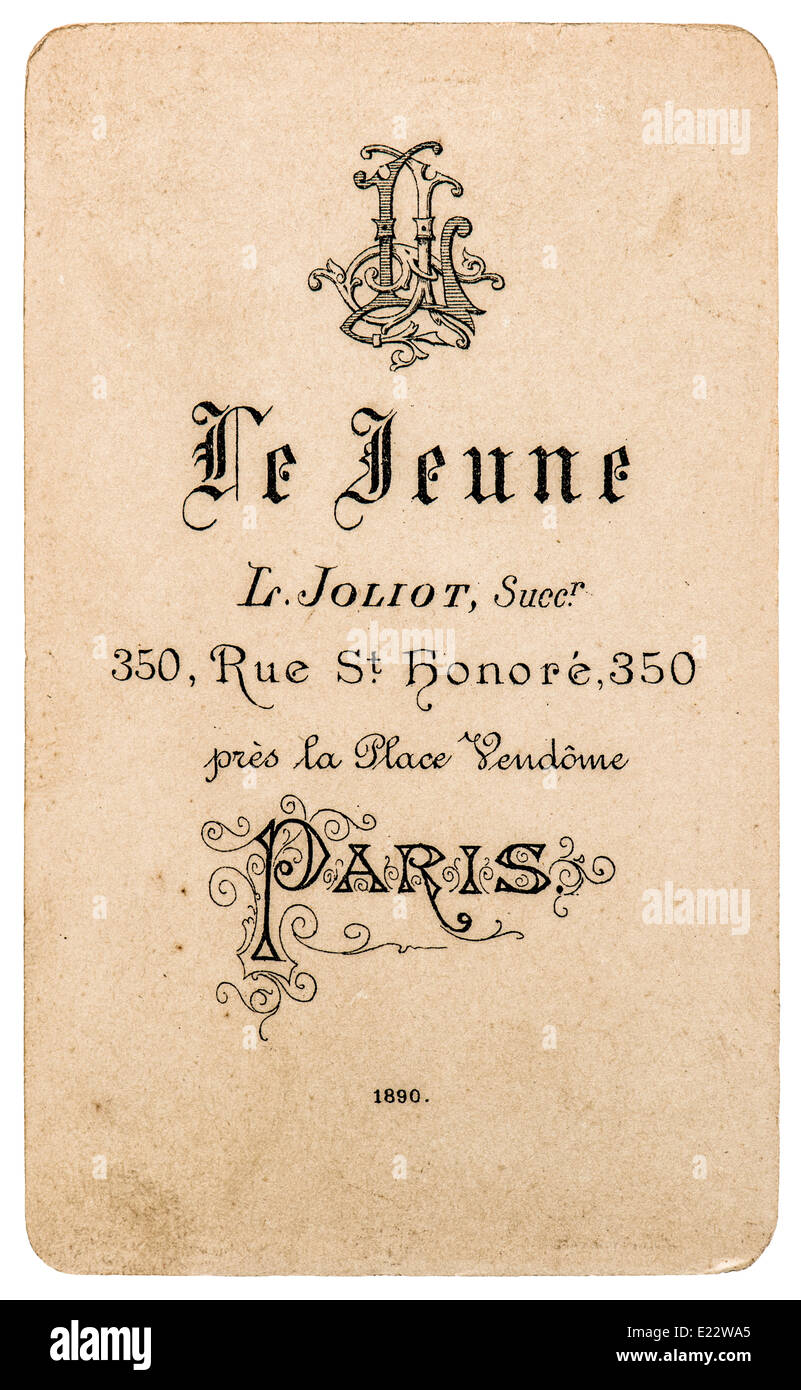 Antike Franzosische Carte De Visite Von 1890 Seltene Vintage Visitenkarte Stockbild