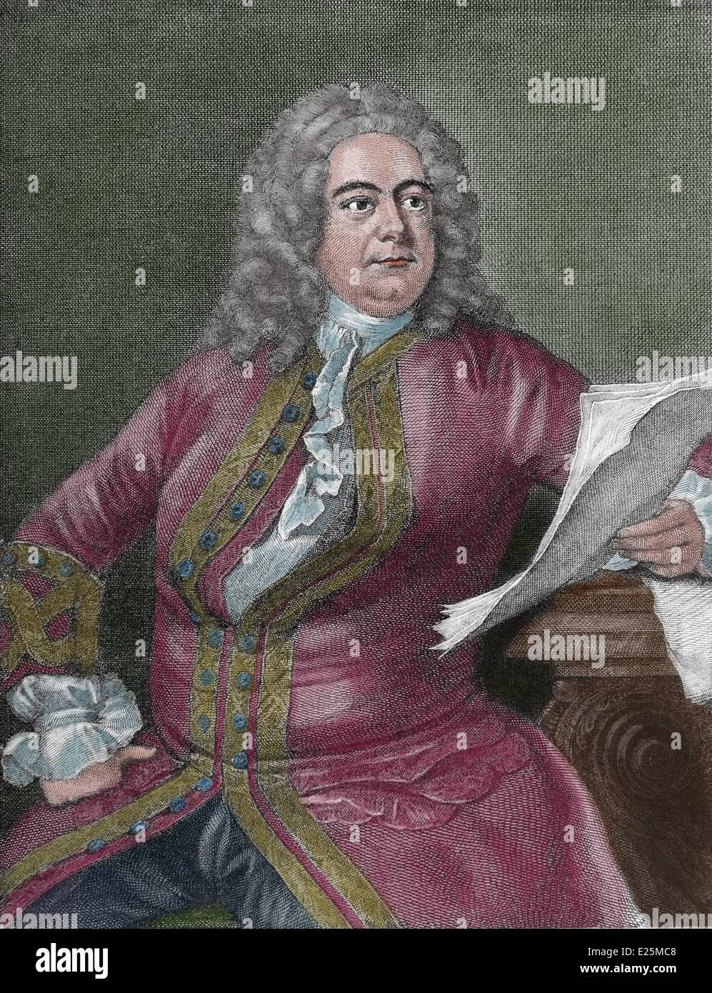 Georg Friedrich Händel (1685-1759). Deutsch-stämmige Barockkomponisten. Kupferstich von William Bromley Stockbild