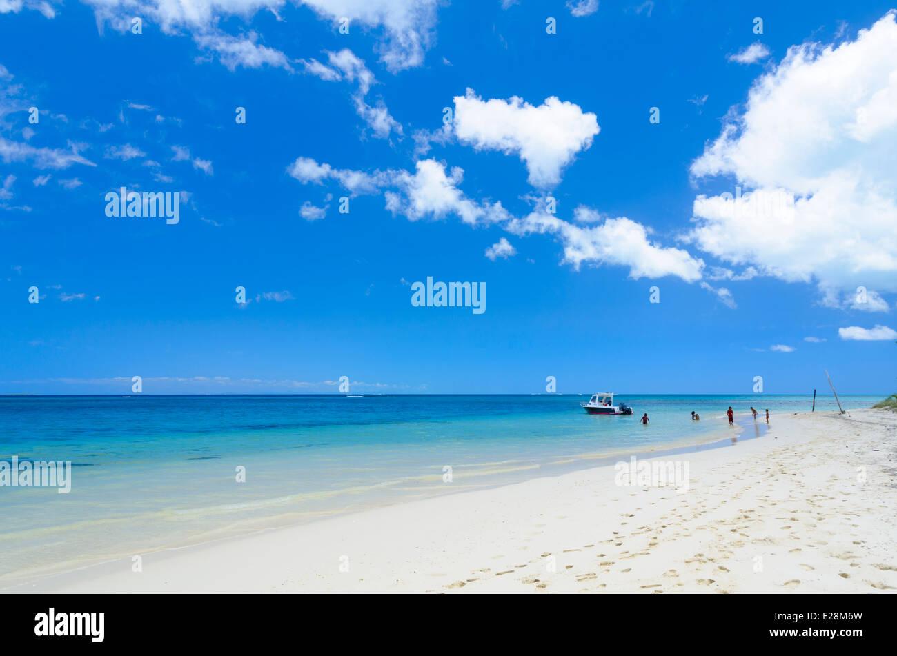 Paradies: Perfekte tropischen Strand mit Meer / Ozean und blauer Himmel Stockbild