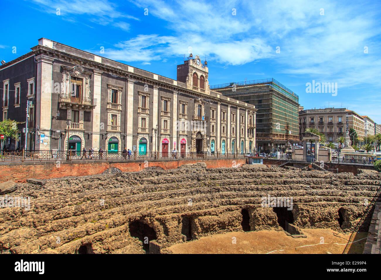 Catania, Römer amphitheater Stockbild