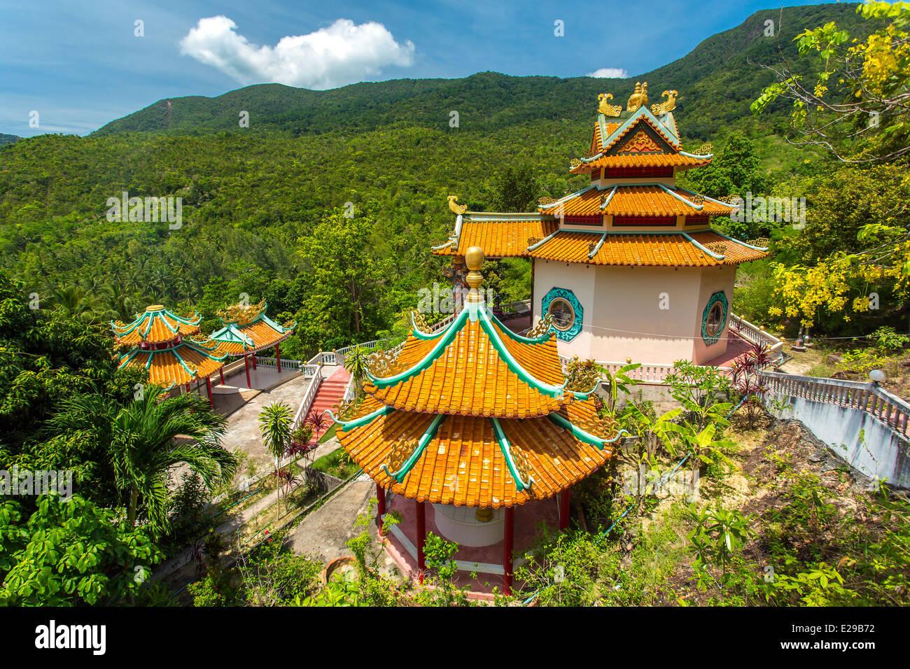 Kuan Yin, chinesische Tempel Chaloklum Bucht auf Koh Phangan, Thailand Stockbild
