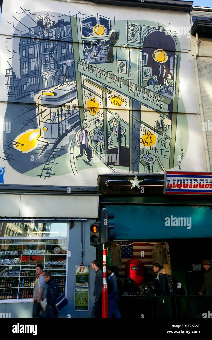 Belgien, Brüssel, Comic-Strip-Trail der Stadt, Rue Bogaerts (Bogaerts Straße), Jean Dupuy und Berberian Stockbild