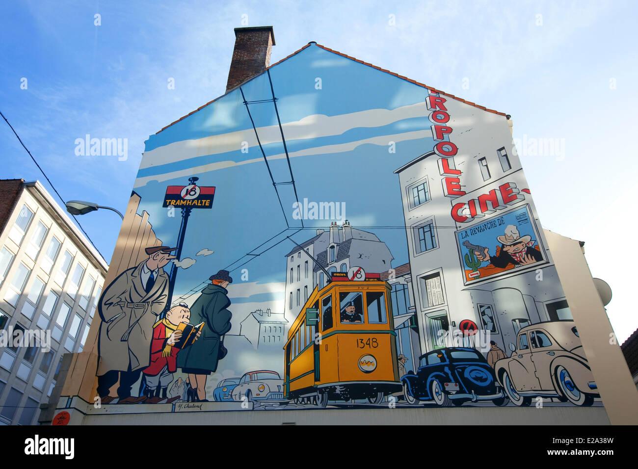 Belgien, Brüssel, Comic-Strip-Trail der Stadt, Straße, Alexian Yves Le Jeune Albert Barge (Mai 2000) Stockbild
