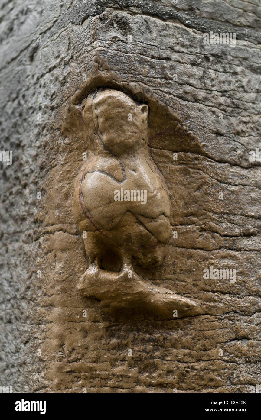 Frankreich, Cote d ' or, Dijon, Eule Skulptur Glück Straßenecke in der Altstadt Stockbild