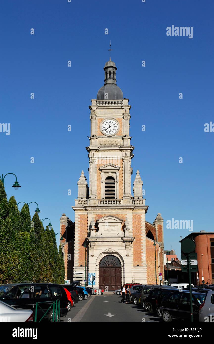Frankreich, Pas-De-Calais, Objektiv, Kirche St. Leger Stockbild