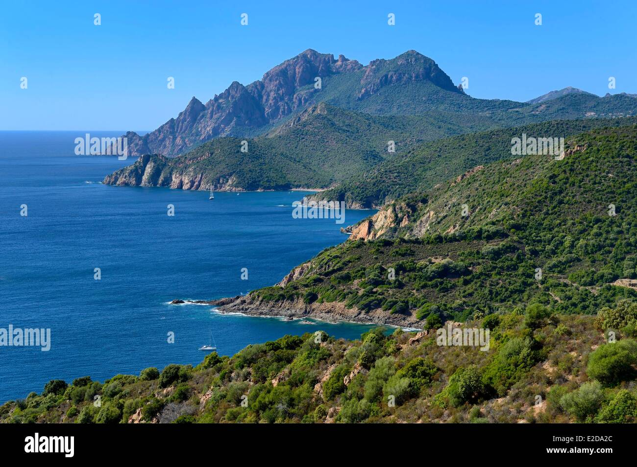 Frankreich, Corse du Sud, Golfe de Porto, Weltkulturerbe der UNESCO, der Capo Senino Stockbild
