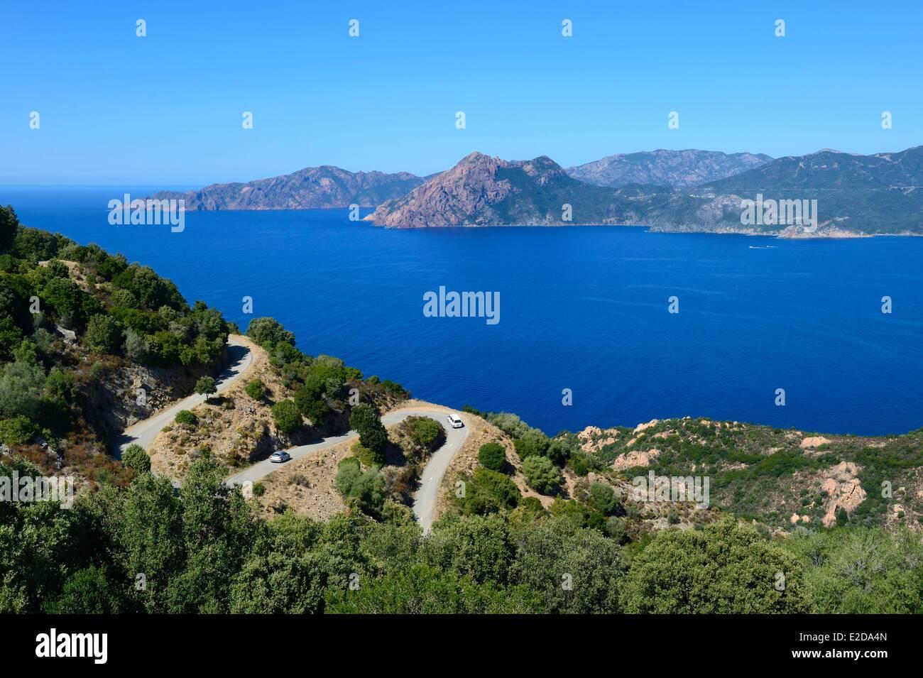 Frankreich, Corse du Sud, Golfe de Porto, Weltkulturerbe der UNESCO, Piana, Ficajola-Bucht Stockbild