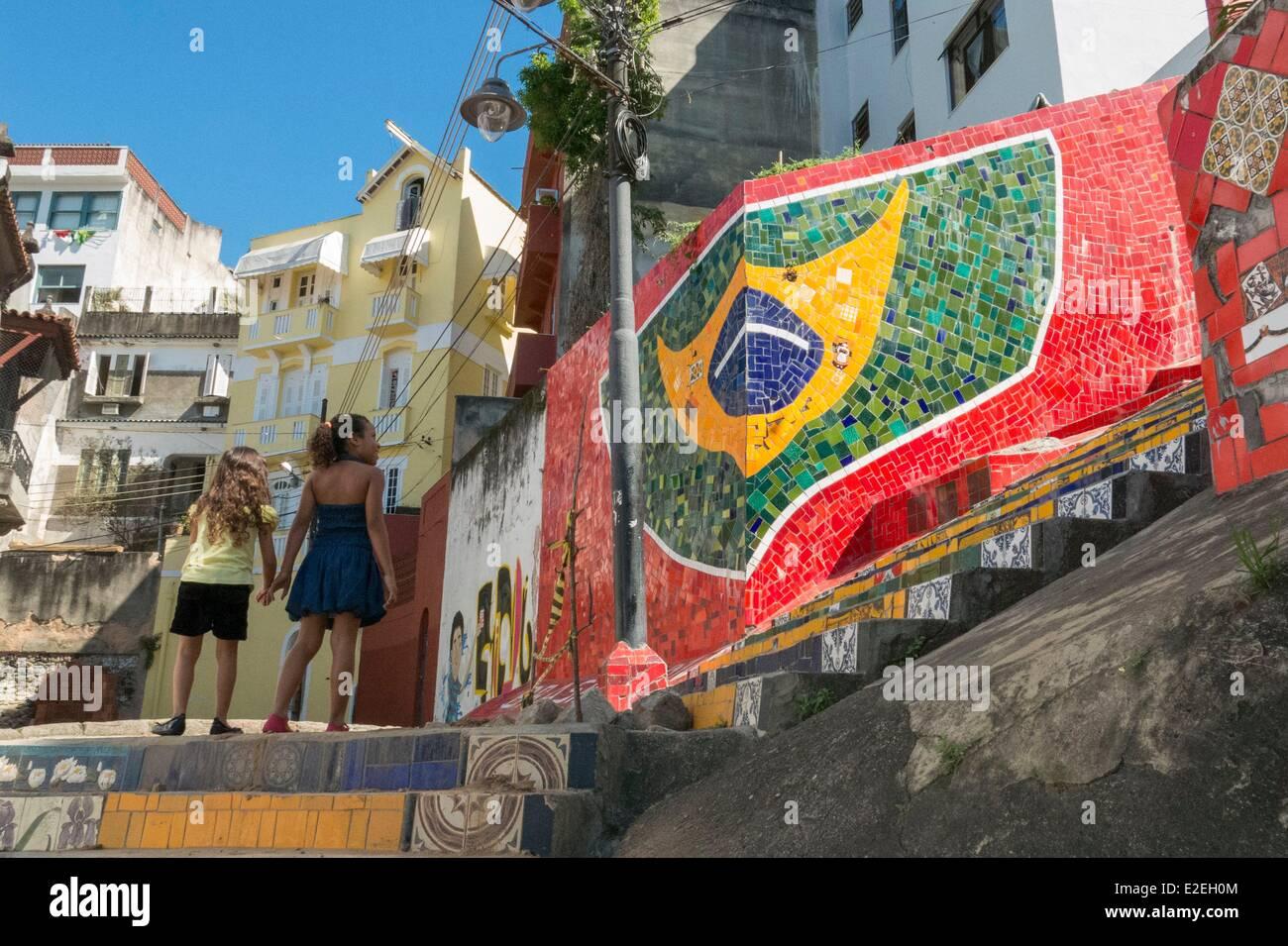 Brasilien Rio De Janeiro Stadtteil Santa Teresa Und Lapa Treppen