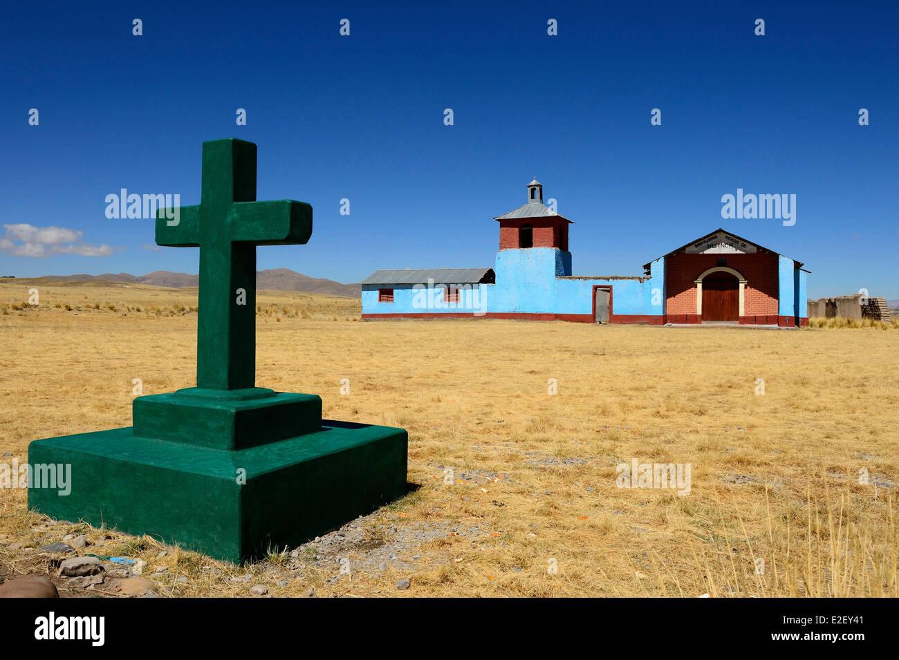 Peru, Arequipa Provinz, Caylloma, verlorene Kirche mitten im Altiplano Stockbild