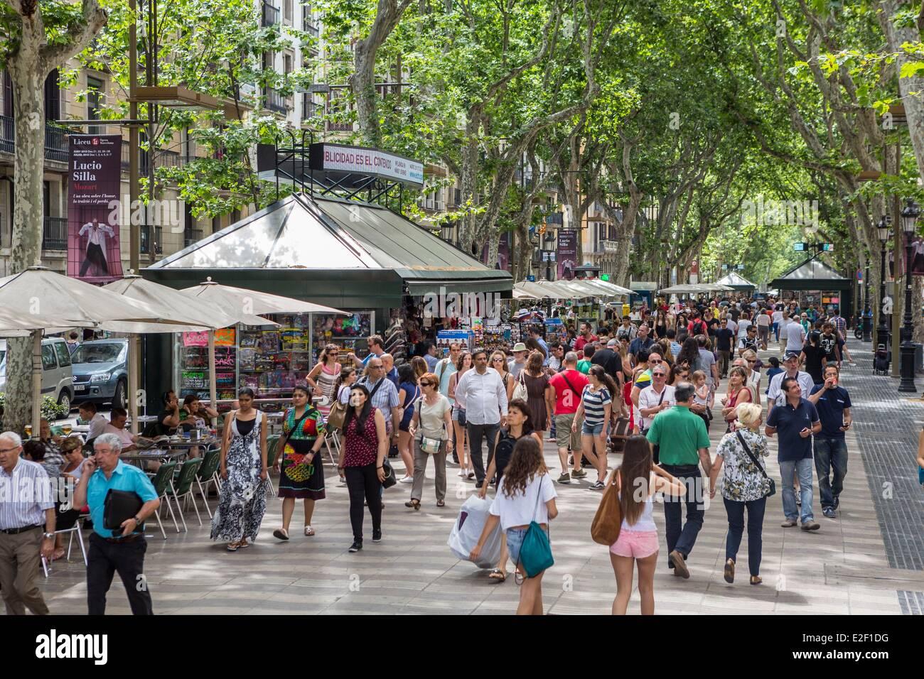Spanien, Katalonien, Barcelona, La Rambla Stockbild