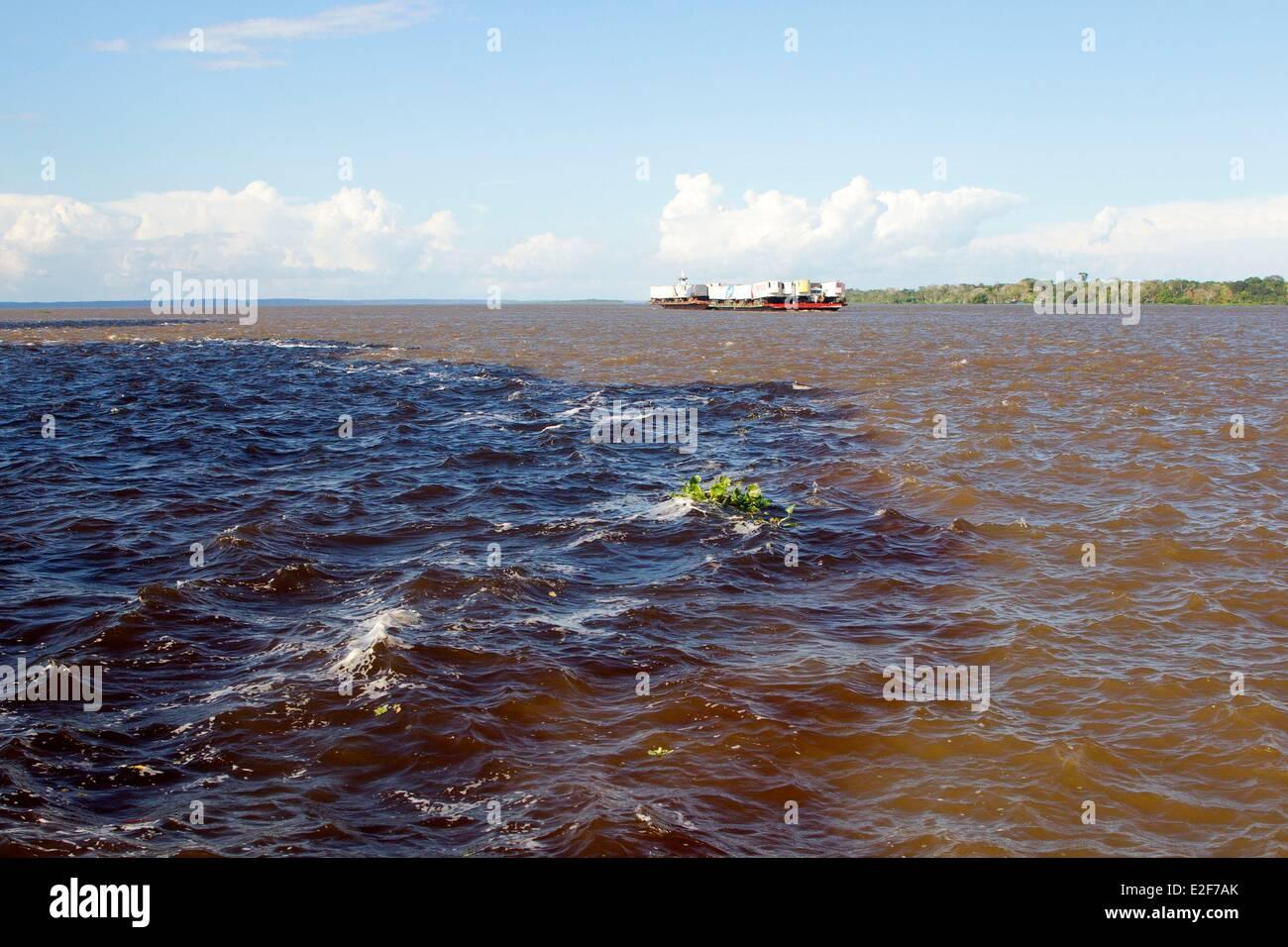 Brasilien Amazonas Staat Amazonas Phänomen des Treffens der Gewässer das schwarze Wasser des Rio Negro Stockbild