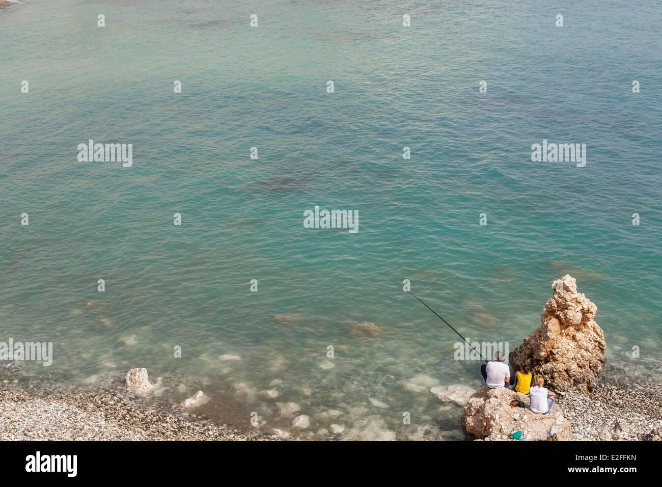 Zypern, Paphos Bezirk, Petra Tou Romiou, legendäre Geburtsort der Göttin Aphrodite, Fischer Stockbild