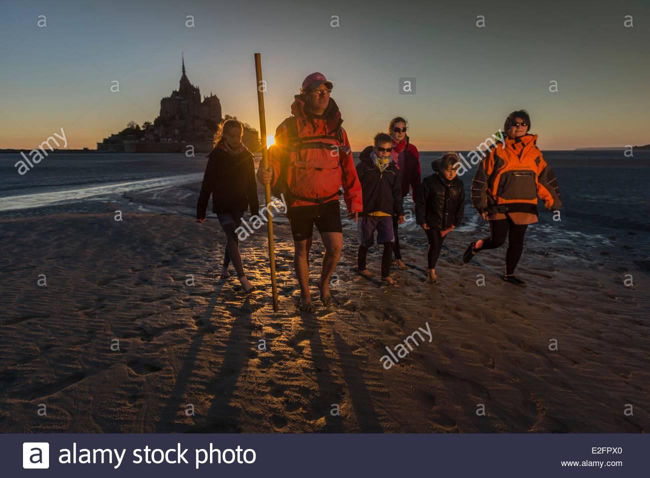 Frankreich Manche Bucht des Mont Saint Michel aufgeführt als Weltkulturerbe der UNESCO der Mont Saint Michel Stockbild