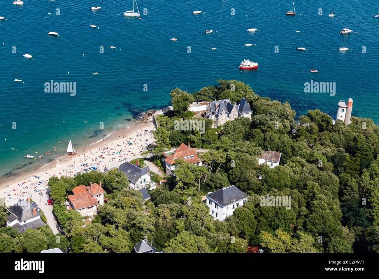 Frankreich Vendee Ile De Noirmoutier En L Le Bois La Chaise Souzeaux Strand Und Plantier Turm Luftbild