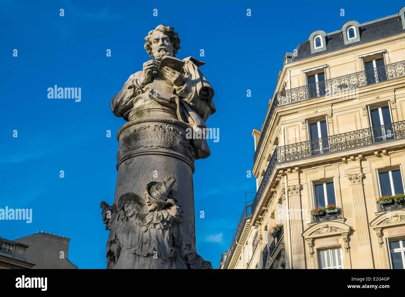 Frankreich Paris Platz Saint-Georges-Büste von Zeichner Paul Gavarni Stockbild