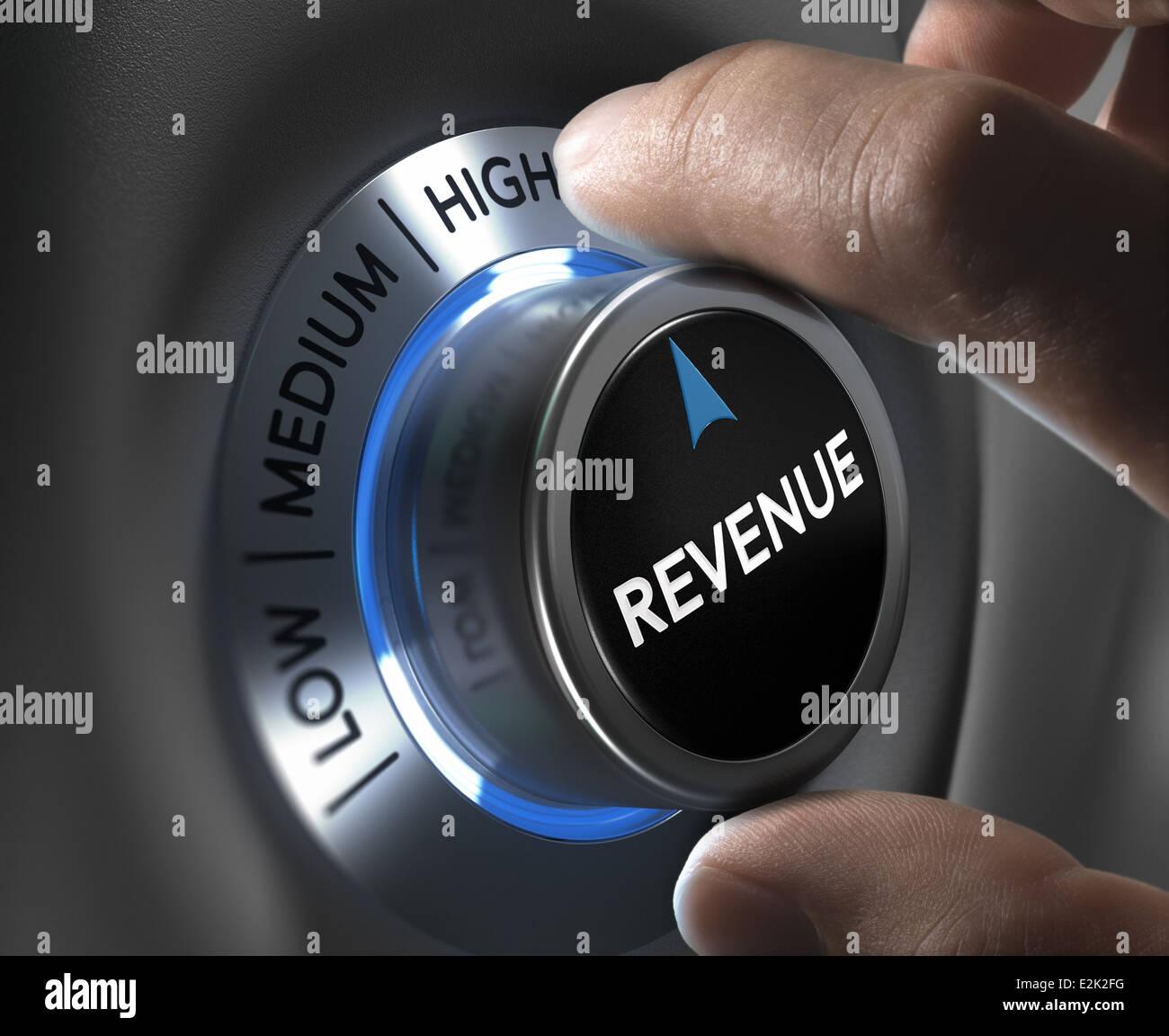 Finger drehen einer Einnahmen-Taste in die höchste Position. Konzept Abbildung der finanziellen Gewinne. Stockbild