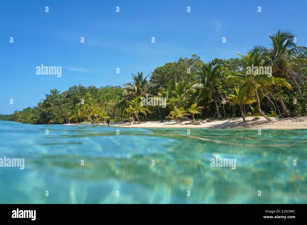 Sandstrand mit tropischer Vegetation betrachtet von der Wasseroberfläche, Karibik, Panama Stockbild