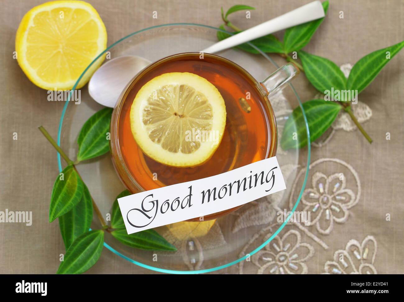 Guten Morgen Karte Mit Zitronen Tee Stockfoto Bild