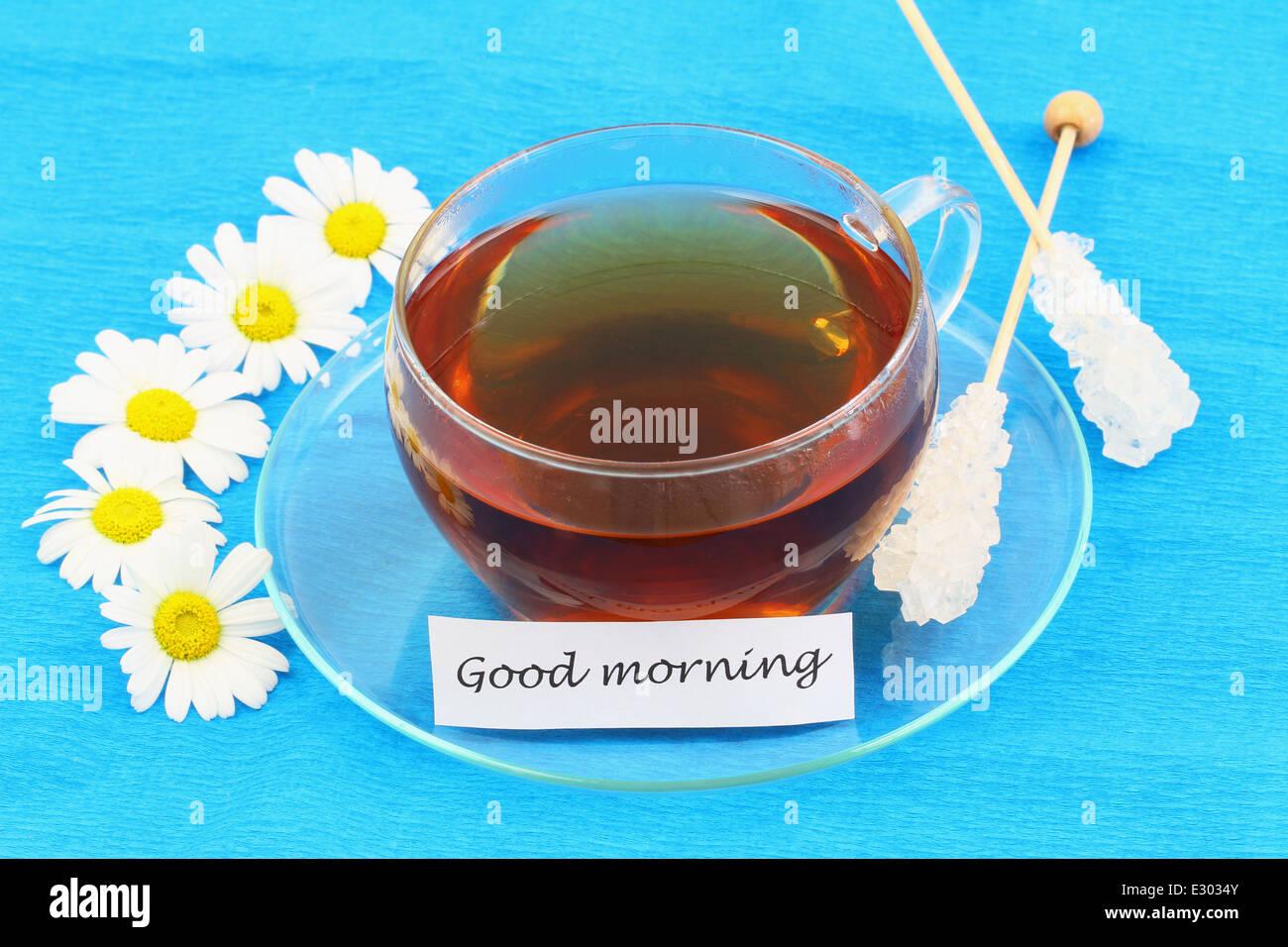 Guten Morgen Karte Mit Tasse Tee Und Weißen Margeriten