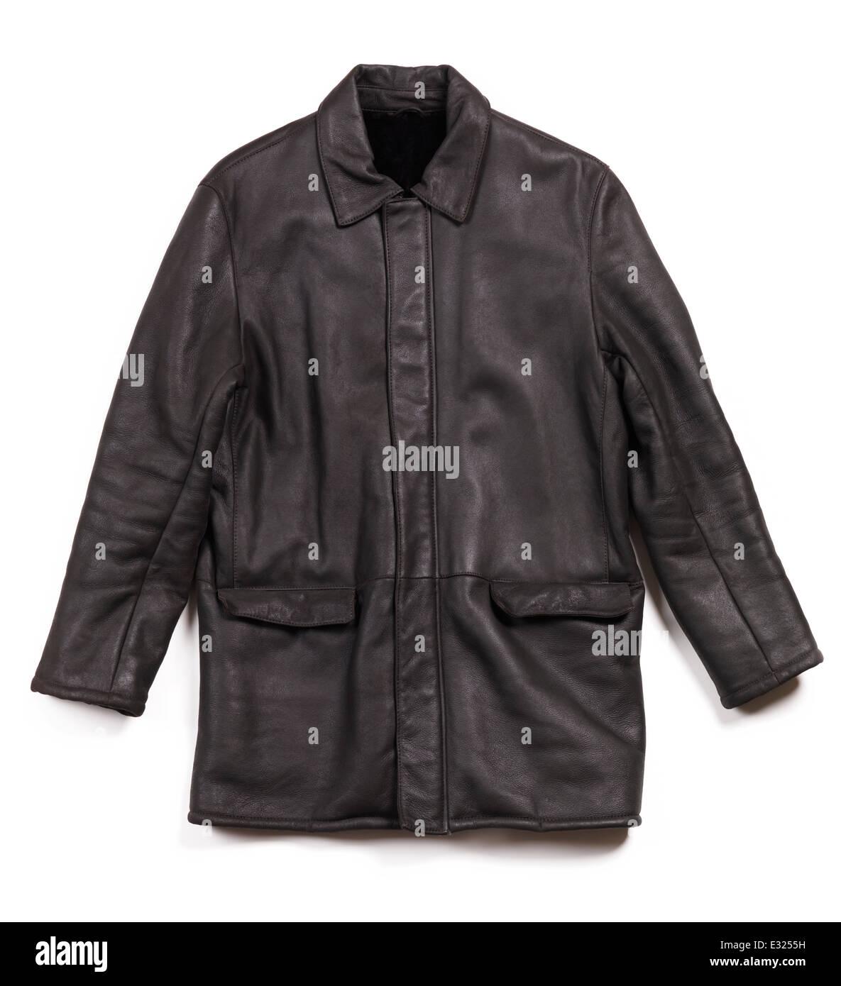 Schaffell Herren Leder Jacke Mantel isoliert auf weißem Hintergrund Stockbild