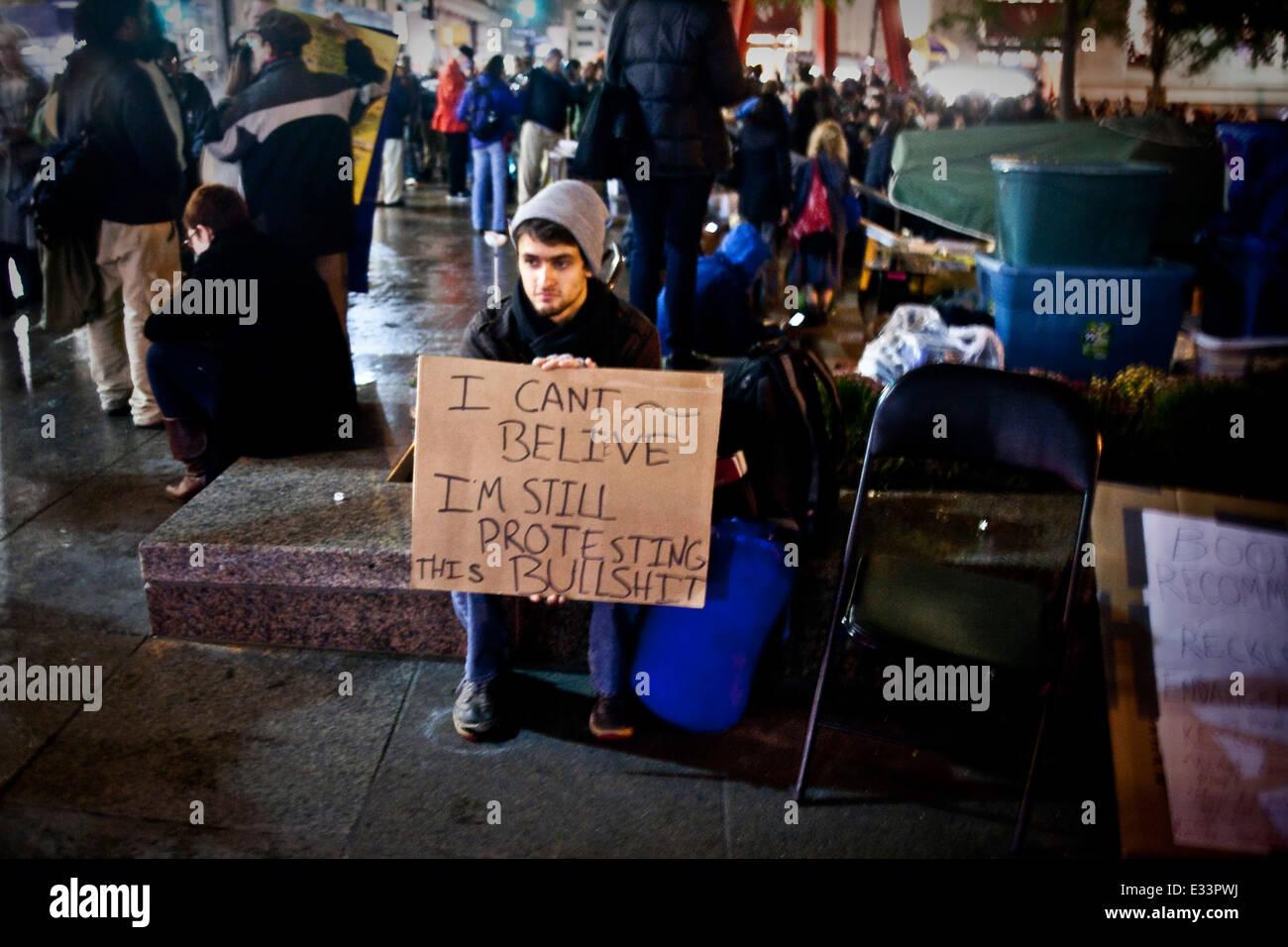 Occupy Wall Street Demonstrant Stockbild
