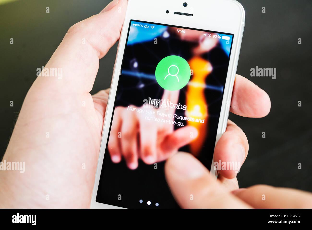 Detail der chinesischen Alibaba app für sourcing Produkte online Stockbild