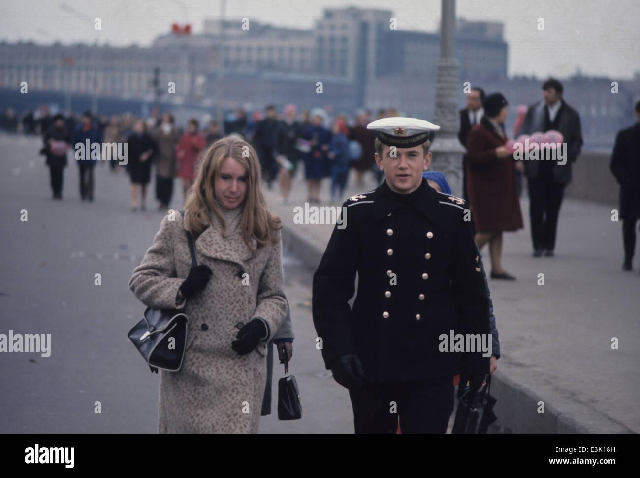 paar in Moskau, Russische Föderation, 70er Jahre Stockbild