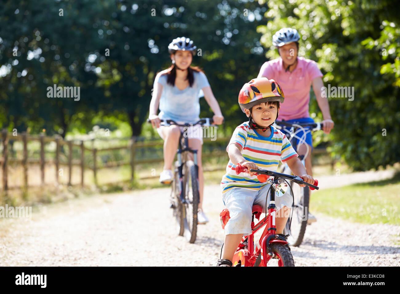 Asiatischen Familie auf Fahrradtour In Landschaft Stockbild