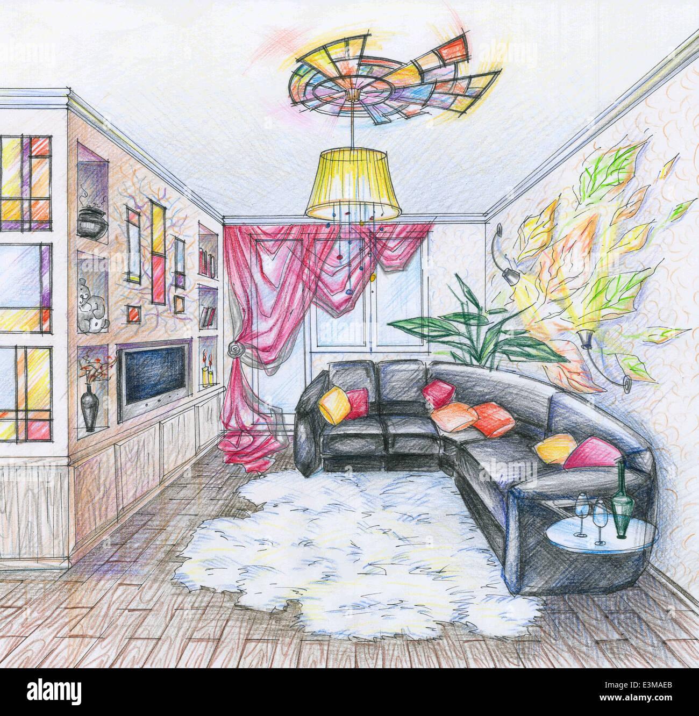 Skizze Des Innenraums Wohnzimmers Stockbild