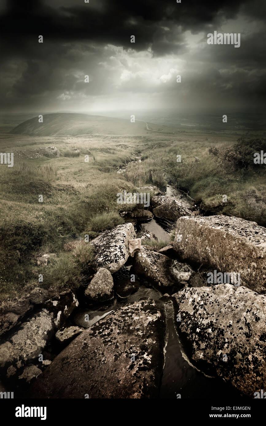 Dramatischen wilden Moorlandschaften. Wilde Landschaft aus Dartmoor, UK Stockbild