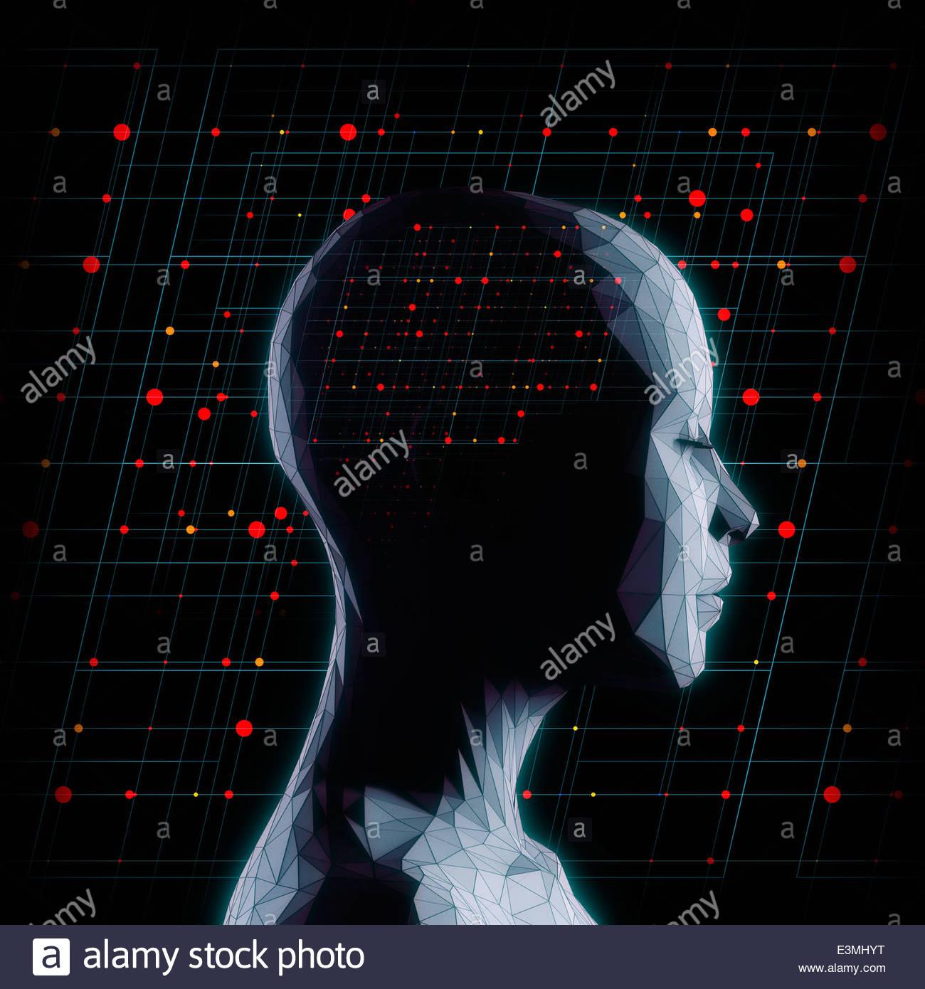 Netzwerk-Raster von verbundenen Punkten über Frauenkopf Stockbild