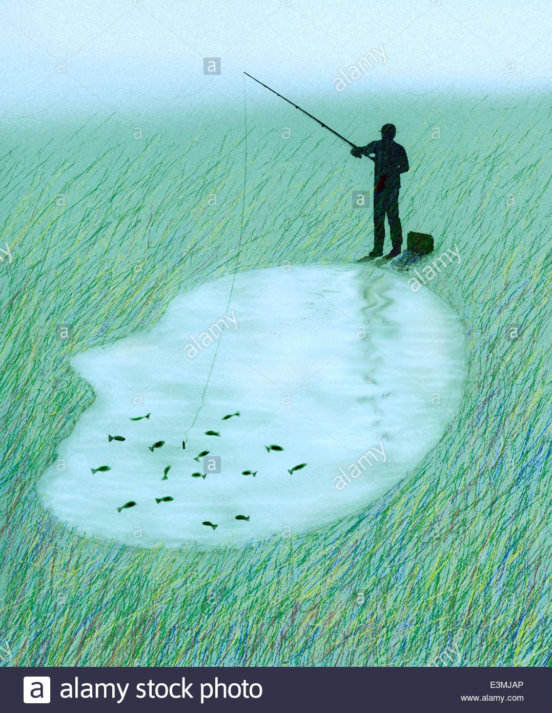 Angeln für Fische im Inneren See geformt wie ein menschlicher Kopf Mann Stockbild