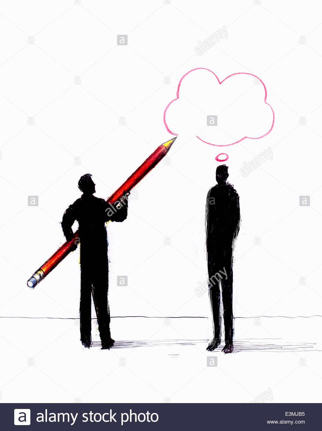 Geschäftsmann Zeichnung Gedankenblase über Mann Stockbild