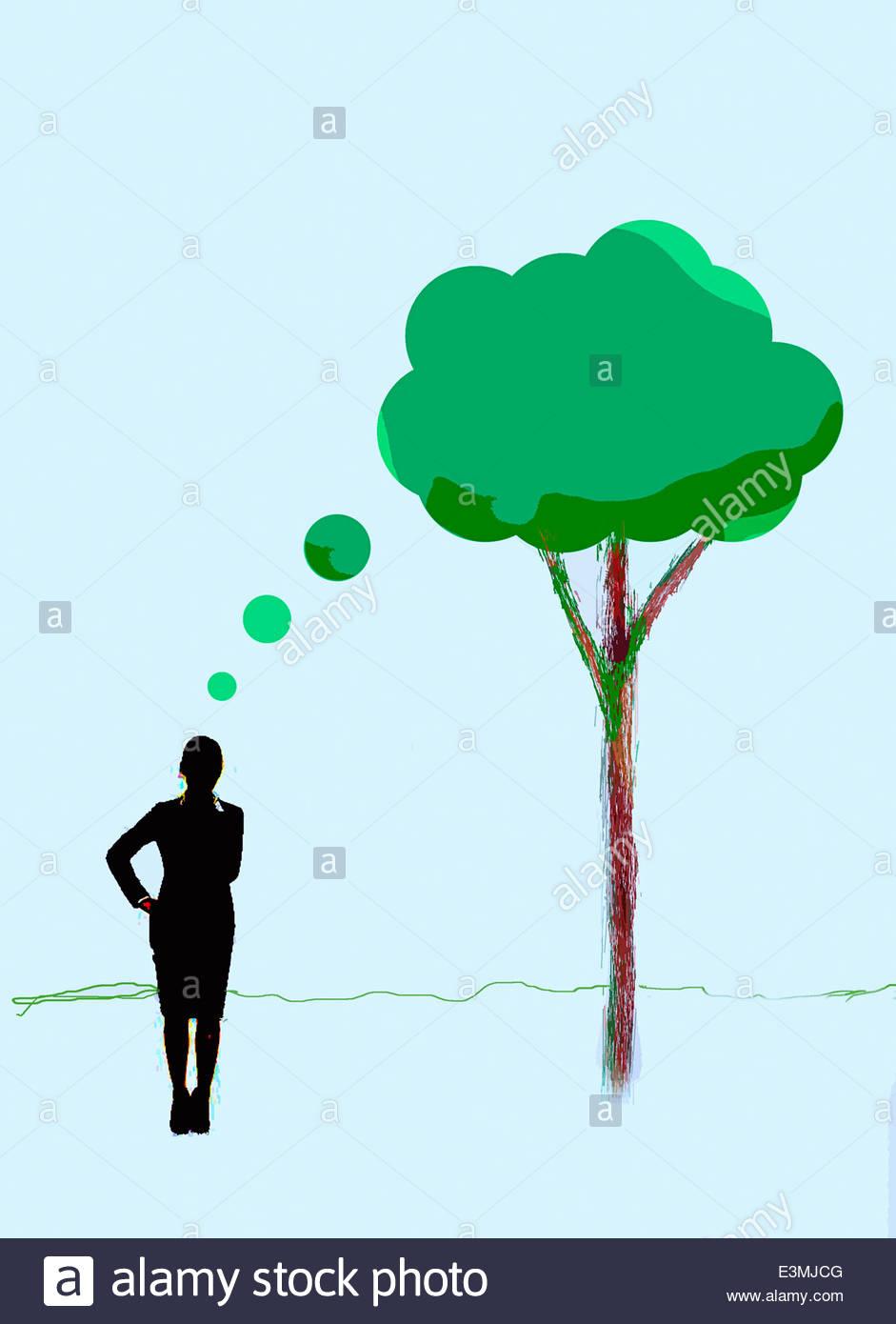Der grüne Baum Gedankenblase denken Geschäftsfrau Stockbild