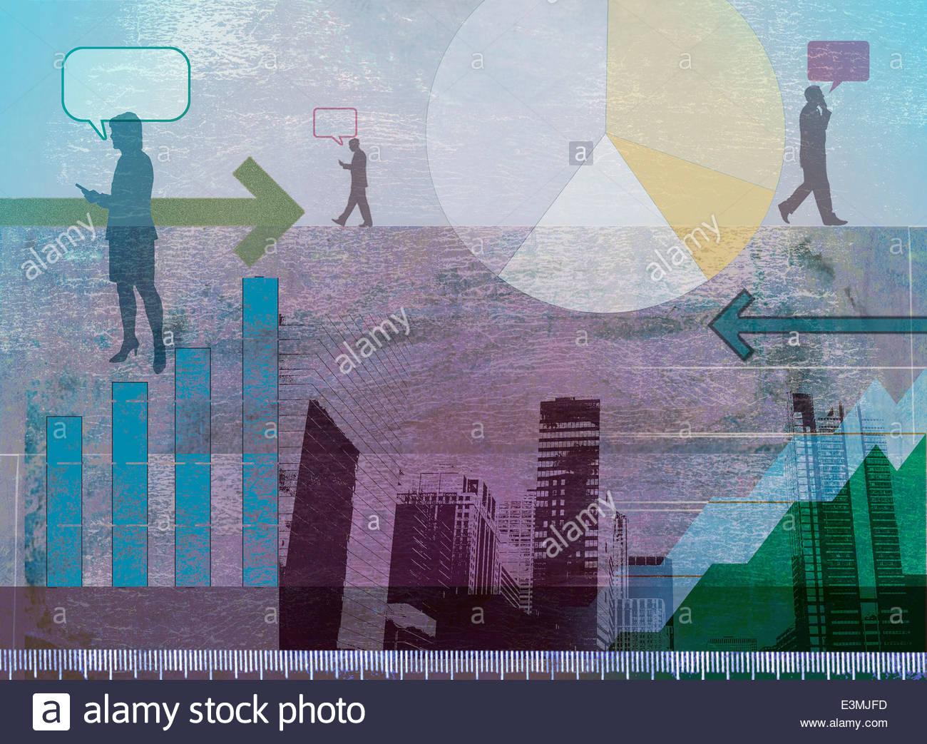 Wolkenkratzer, Grafiken, Pfeile und Geschäftsleute unterwegs kommunizieren Stockbild