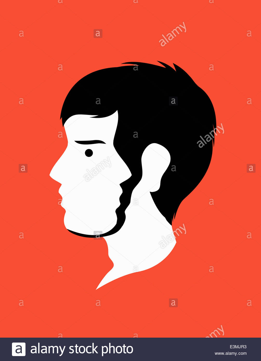 Männerkopf mit zwei Gesichtern Stockbild