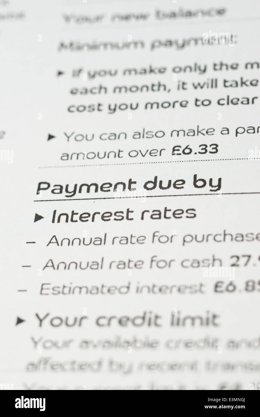 Zahlungsdaten auf eine Kreditkartenabrechnung Stockbild