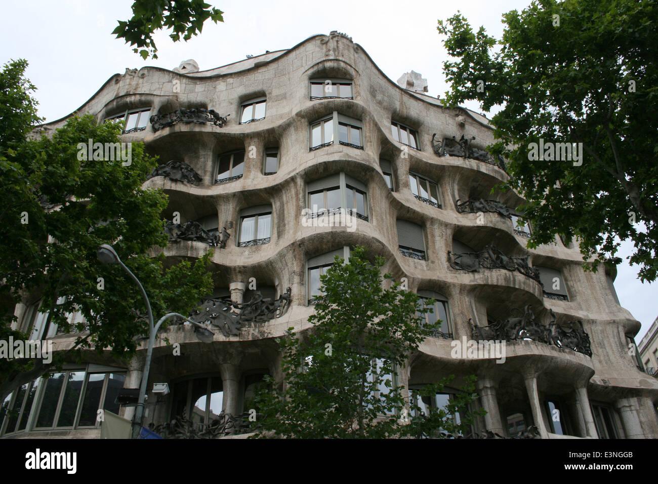 Casa Mila Antoni Gaudi Stockbild