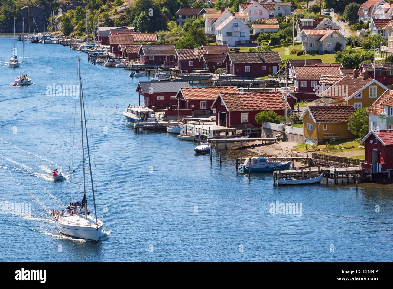 Blick auf eines alten Fischerdorfes Hamburgersund an der schwedischen Westküste Stockbild
