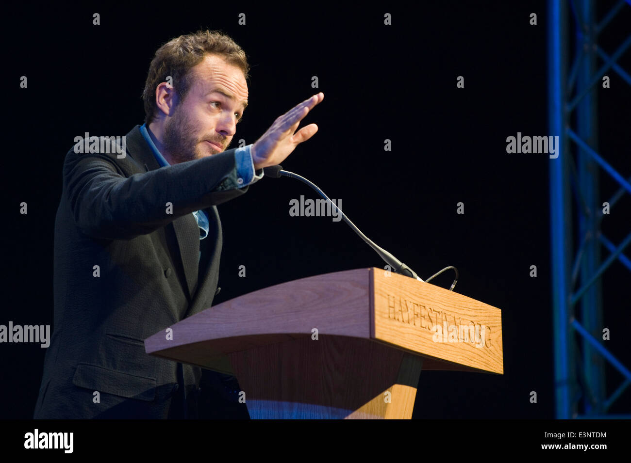 Patrick Kennedy Lesung in Buchstaben Live-Event bei Hay Festival 2014 © Jeff Morgan Stockbild