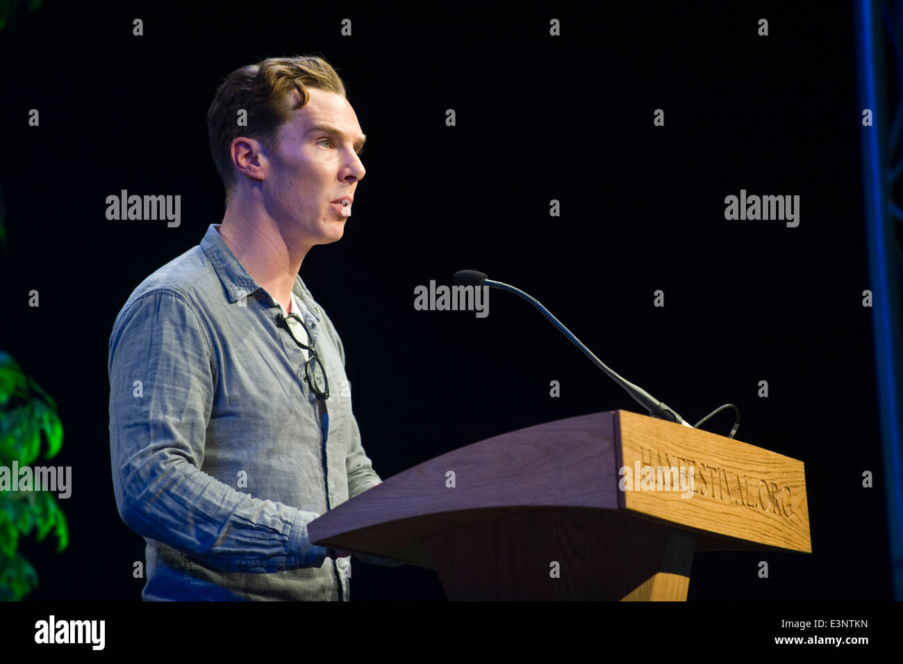 Benedict Cumberbatch Lesung in Buchstaben Live-Event bei Hay Festival 2014 © Jeff Morgan Stockbild